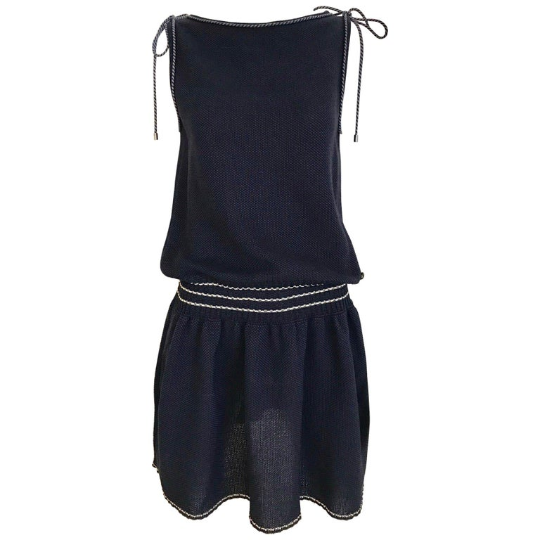 Chanel Navy Blue Knit Drop Waist Dress For Sale