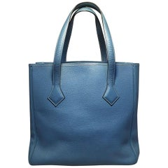 RARE Hermes Victoria Cabas II Blue Clemence Leather Shoulder Bag Shopping Tote