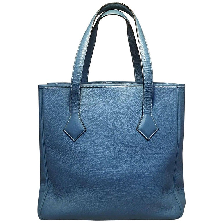 3ab3f38399 RARE Hermes Victoria Cabas II Blue Clemence Leather Shoulder Bag Shopping  Tote For Sale