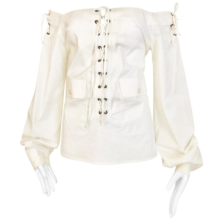Yves Saint Laurent By Tom Ford White Cotton Off Shoulder Lace Up Blouse