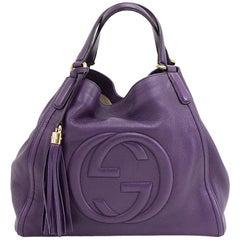 Gucci Soho Purple Calfskin Leather Tassel Handbag