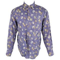 45rpm Size L Blue Tie Dye Wash Floral Print Cotton / Linen Long Sleeve Shirt