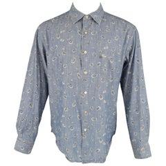 45rpm Size L Blue Paisley Print Cotton Chambray Long Sleeve Shirt