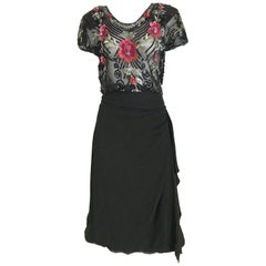 1930s Black Embroidered Sequin Crepe Cocktail Dress