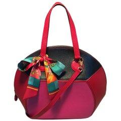Hermes Vintage Pink Red Black Color Block Epsom Round Ellipse Handbag