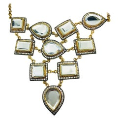 MEGHNA JEWELS Handcrafted Stunning Polki Mirror Bib Necklace