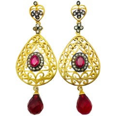 MEGHNA JEWELS Handcrafted Filigree Faux Ruby Earrings