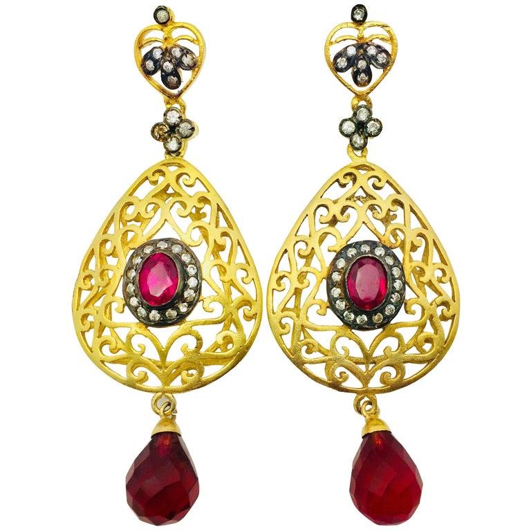 Filigree Faux Ruby Crystal Earrings For Sale
