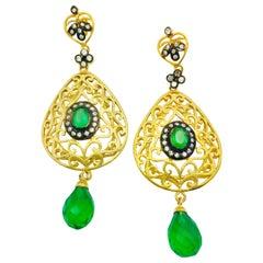 Filigree Faux Emerald Green Earrings
