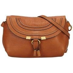 Chloe Brown x Light Brown Small Leather Marcie Crossbody Bag