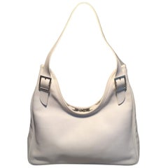 Hermes White Swift Leather Massai PM Shoulder Bag