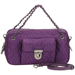 Prada Purple Quilted Nylon Chain Satchel