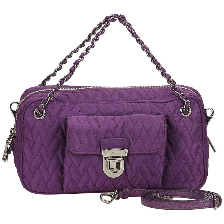 7382daef7c45 Prada Purple Quilted Nylon Chain Satchel For Sale