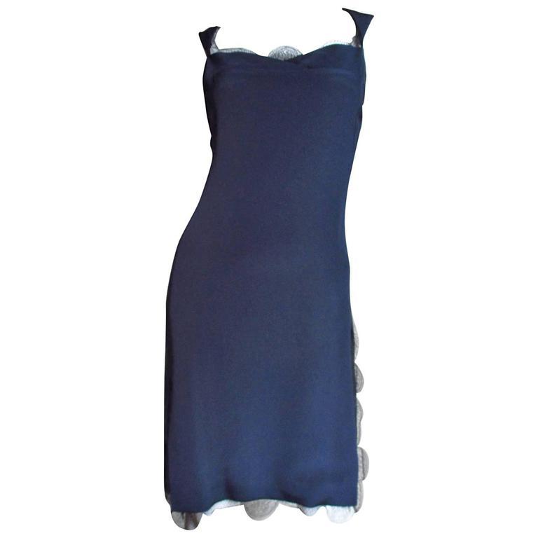 1990s Bill Blass Lace Trimmed Slip Dress