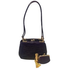 Judith Leiber Dark Purple Alligator Shoulder Bag