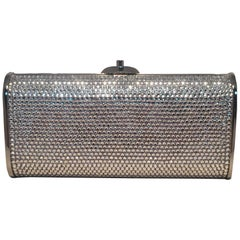 Judith Leiber Silver Clear Swarovski Crystal Minaudiere Evening Bag Clutch