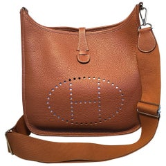 Hermes Tan Clemence Leather Evelyne PM III 29 Bag
