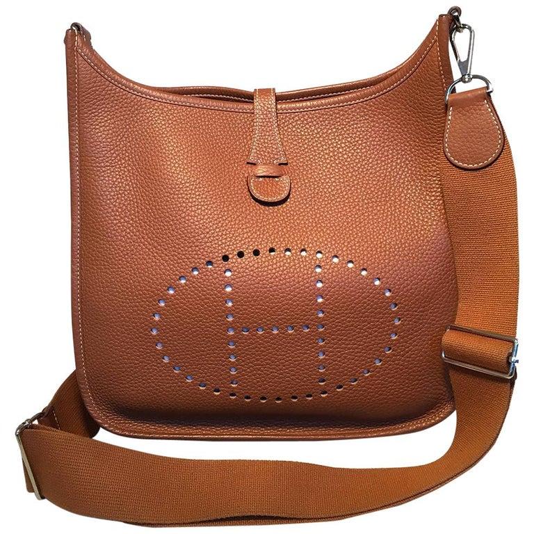 Hermes Tan Clemence Leather Evelyne PM III 29 Bag