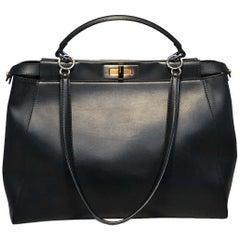 Fendi Black Leather Selleria Peekaboo Shoulder Bag Tote