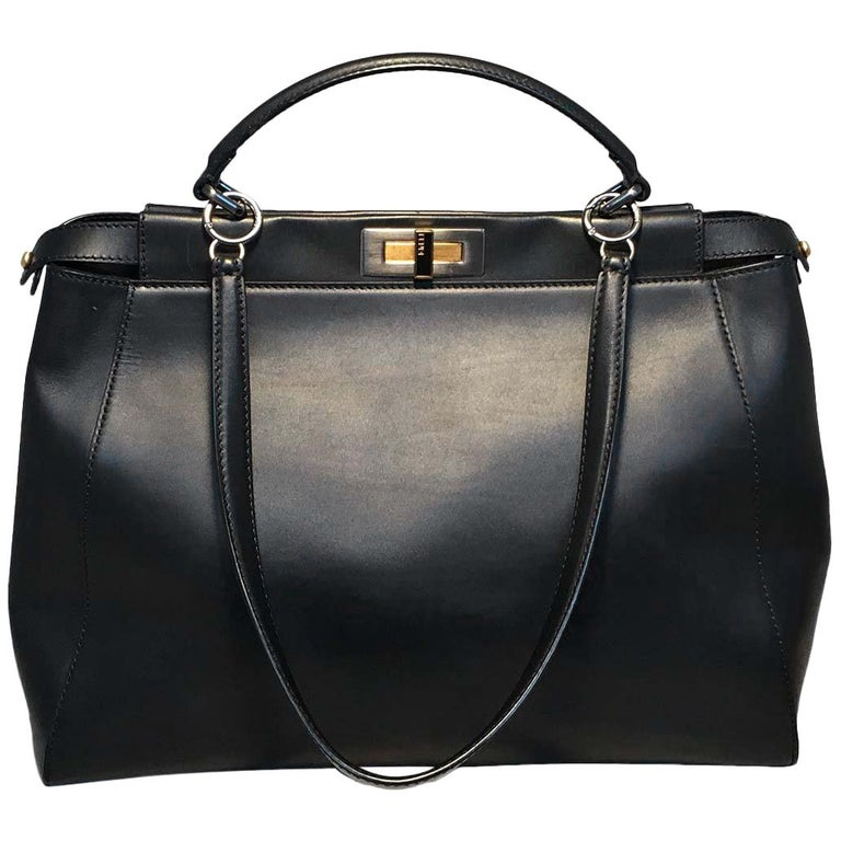 Fendi Black Leather Selleria Peekaboo Shoulder Bag Tote 7fb0935cb6ad1