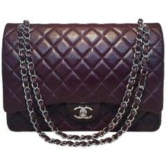 Chanel Dark Plum Purple Caviar 2.55 Double Flap Classic Maxi Shoulder Bag