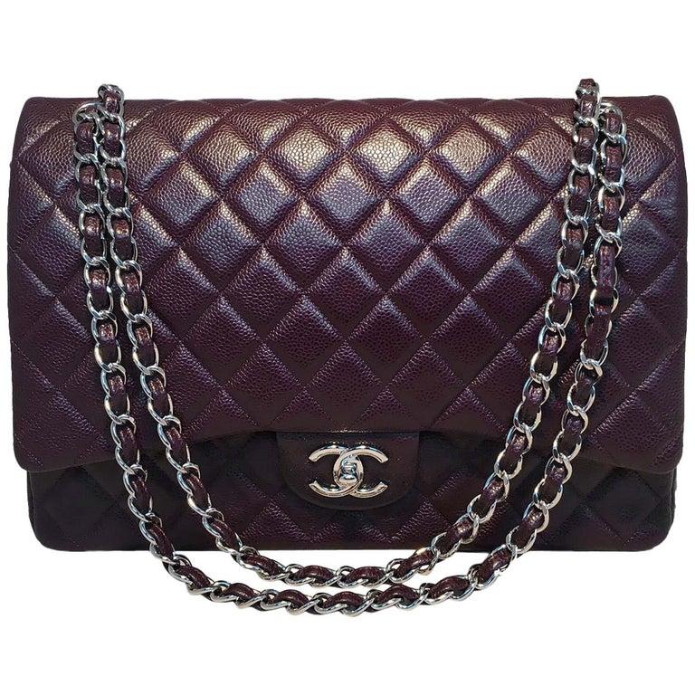 3e0f79843dba Chanel Dark Plum Purple Caviar 2.55 Double Flap Classic Maxi Shoulder Bag  For Sale