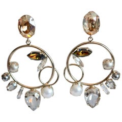 Philippe Ferrandis Swarovski Crystal and Gold Drop Loop Clip Earrings