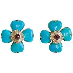Goossens Paris Turquoise Clover Clip Earrings with Garnet Center