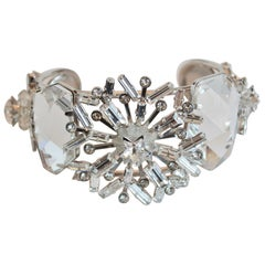 Philippe Ferrandis Clear Swarovski Crystal Statement Cuff
