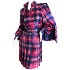 Cardinali Plaid Silk Three Piece Skirt Suit with Jacket Fall 1972