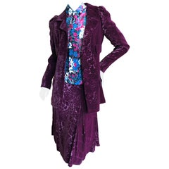 Cardinali Purple Silk Devore Velvet Three Piece Skirt Suit with Jacket Fall 1972
