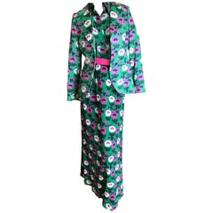Cardinali Mod Silk Floral Four Piece Skirt Suit with Jacket and Belt Fall 1972