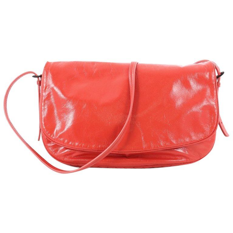 Bottega Veneta Flap Messenger Bag Leather with Intrecciato Detail Medium  For Sale ad18b2b886ae4