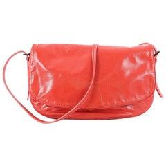 Bottega Veneta Flap Messenger Bag Leather with Intrecciato Detail Medium
