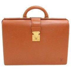Vintage Louis Vuitton Serviette Fermoir Cipango Gold Epi Leather Briefcase