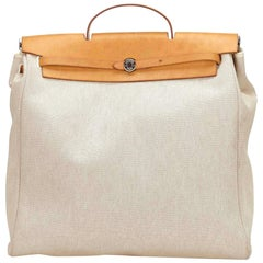 Hermes Brown and Beige Herbag MM Handbag