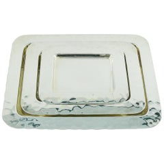 Christian Dior Vintage Silver Plate Set of Hammered Trays