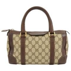 Vintage Gucci GG Supreme Canvas & Brown Leather Mini Boston Bag