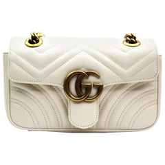 Gucci Mini Marmont White Leather Crossbody Bag