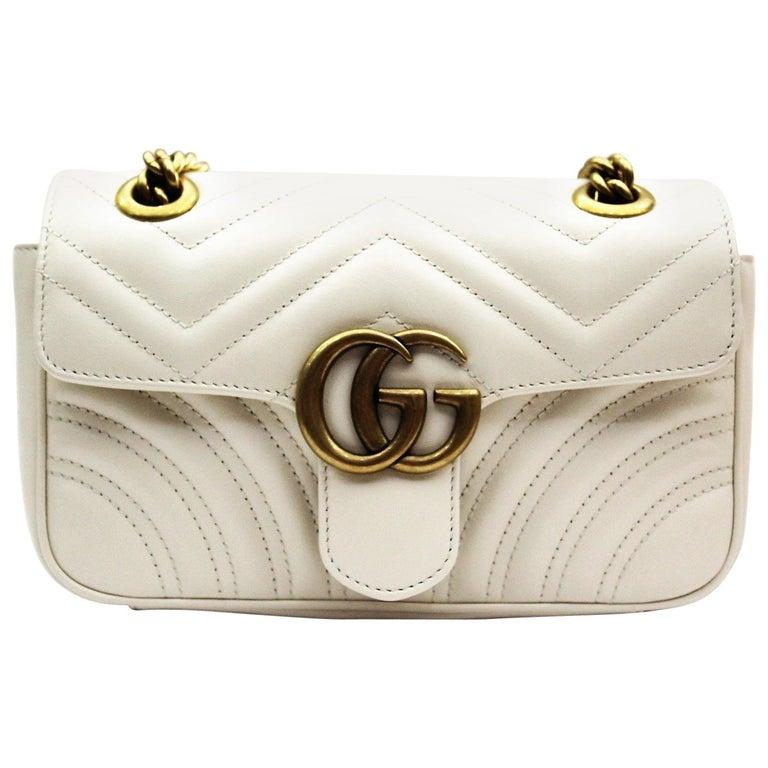 963e14952 Gucci Mini Marmont White Leather Crossbody Bag at 1stdibs