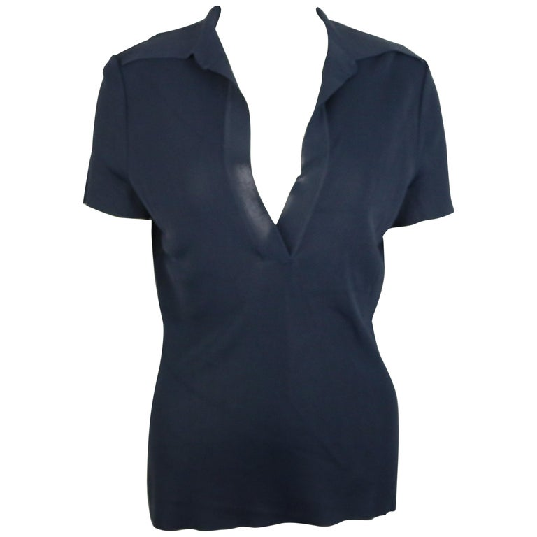 Gucci Navy Knitted V-Neck Polo Shirt