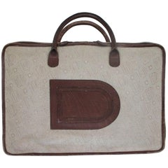 Delvaux Vintage Canvas Leather Travel Suitcase, 1950s