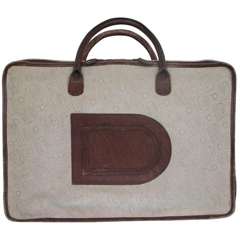 Delvaux vintage canvas leather suitcase, 1950s
