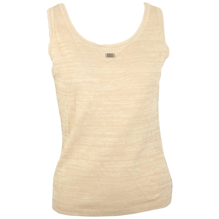 21bd630fb9013 Chanel Beige Cotton Knitted Tank Top For Sale at 1stdibs