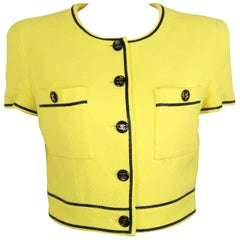 Chanel Yellow Cotton Short Sleeves Cropped Jacket