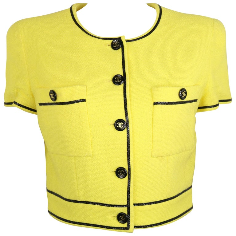 Chanel Yellow Cotton Short Sleeves Cropped Jacket For Sale