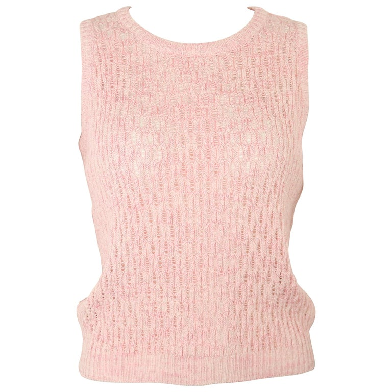 Gianni Versace Sport Pink Cotton Knitted Sleeveless Pullover Top For Sale