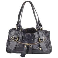 Chloe Blue Leather Bay Bag Tote Shoulder Bag