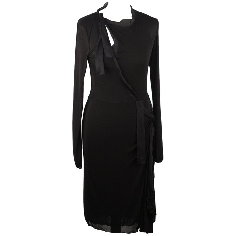 Yves Saint Laurent Rive Gauche Black Long Sleeve Dress Size S