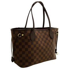 Louis Vuitton Damier Ebene Neverfull PM Shoulder Bag Canvas Tote